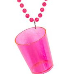 """NEON PINK SHOT GLASS NECKLACE"" W 75723"