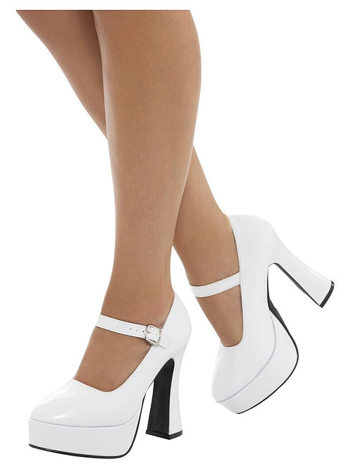 70s Ladies Platform Shoes, White. 43075 S