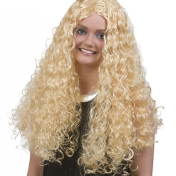 Blond lang parykk med krøller