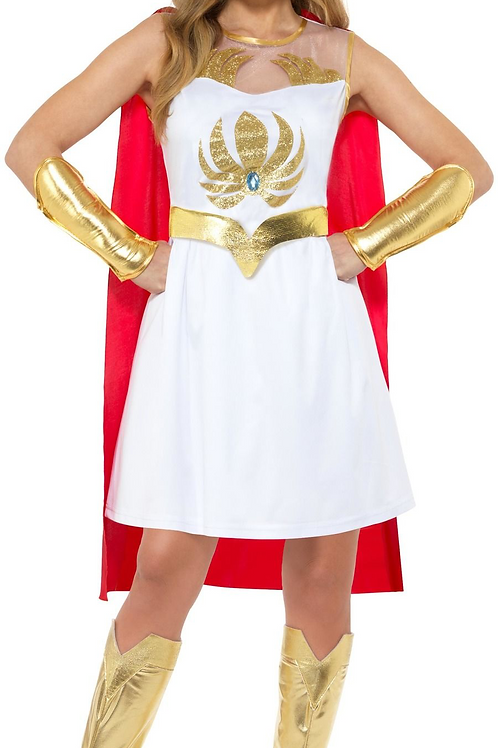 She-Ra Glitter Print Costume, White, with Dress, Cape, Armcuffs... 50272 S