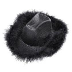 """""""BLACK LUREX COWGIRL HAT"""" with marabou tri... W 0077Q"""