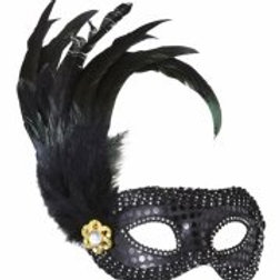 BLACK SEQUIN EYEMASKS WITH JEWEL & FEATHE... (1793S)