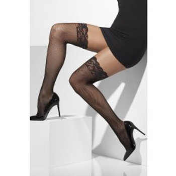 Fishnet Hold-Ups, Black, Lace Tops With Silicone 21431 S