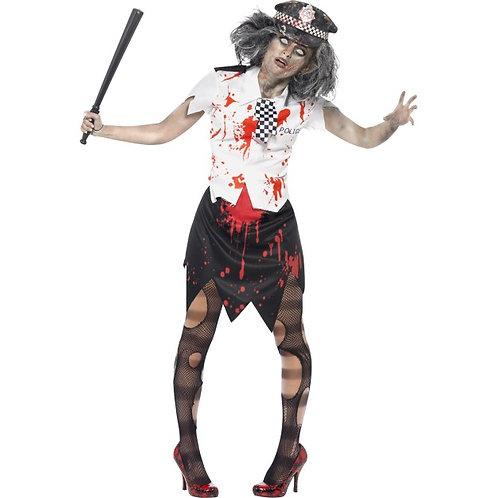 Zombie Policewoman Costume, With Skirt, Shirt With Tie and Hat SKU: 38881