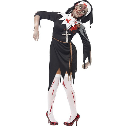 Zombie Nun Costume, Black, Dress With Latex Wound, Rope Belt and Headpiece SKU: