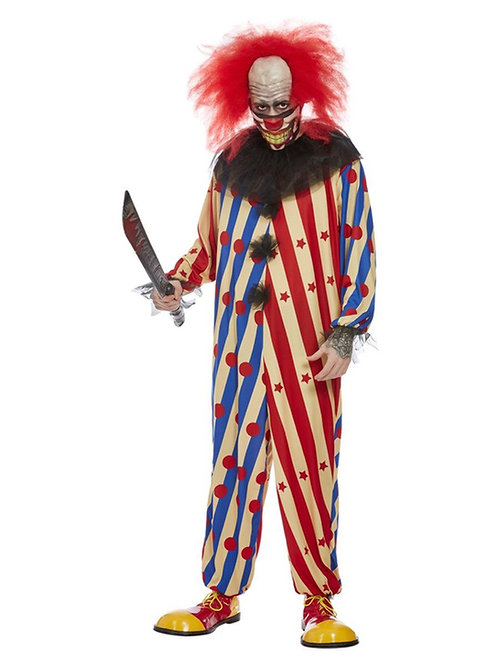 Creepy Clown Costume, Red & Blue. 63044 Smiffys