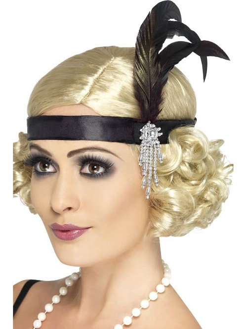 Black Satin Charleston Headband. 23893 S
