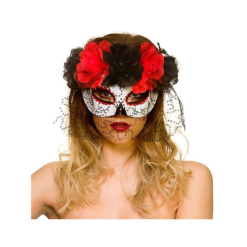 Day of the Dead Eyemask w/Veil MK-9995 W