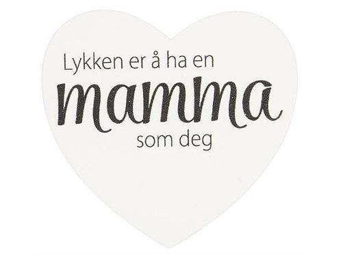Magnetskilt hjerte Lykken..mamma 8x7,5cm
