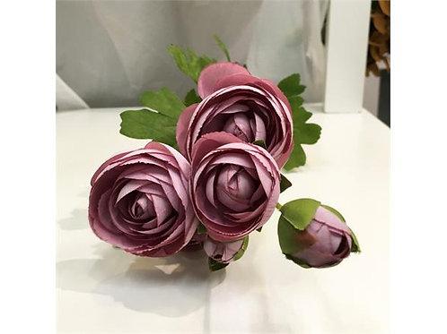 Blomst Rose 5Roser 3Knopper Sart Lilla