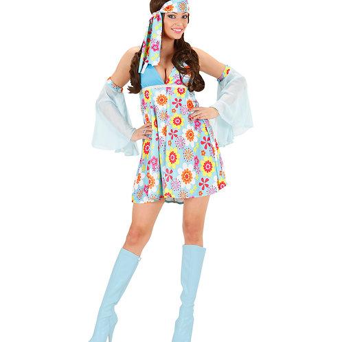 """70s GIRL"" light blue - (dress, armbands with veil)"