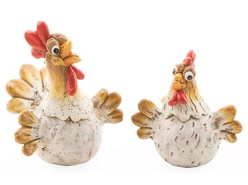 Kylling liggende funny beige/rød 7cm