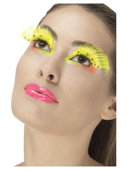 80s Polka Dot Eyelashes, Neon Yellow. 48094 S