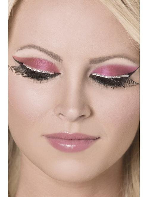 Eyelashes, Black, with Silver Glitter. 30279 Smiffys