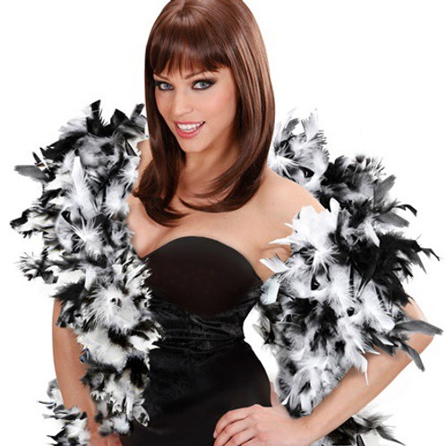 "DELUXE BICOLOR FEATHER BOA"" black/white. 45556 Widmann"