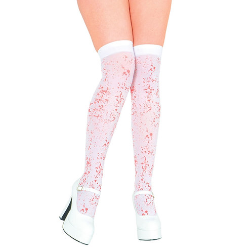 Thigh Highs - White with Blood Spatter TS-7068 W