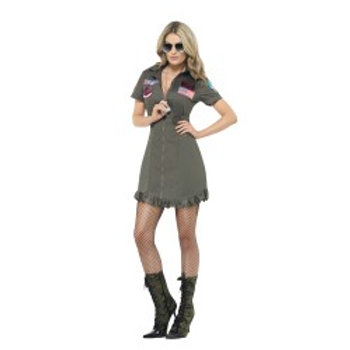 Top Gun Deluxe Female Costume W/Dress Gl 26854 S