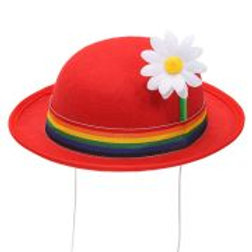 """Felt """"RED BOWLER HAT WITH MULTICOLOR BAND ... W 68575"""
