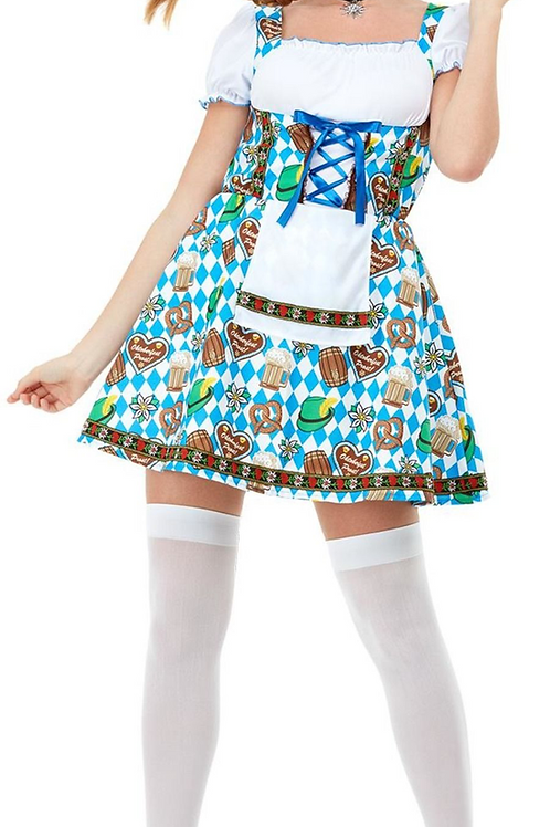 Oktoberfest Beer Maiden Costume, Blue, with Printed Dress 47788 S