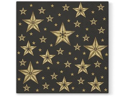 Serviett lunsj 20 stk Beatiful Star sort 3 lag 33x33cm