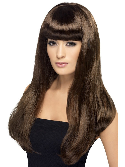 Babelicious Wig, Brown, Long, Straight with Fringe. 42425 Smiffys