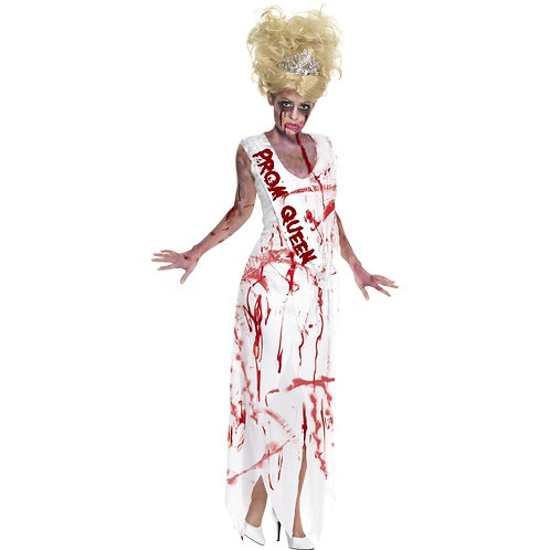 High School Horror Zombie Prom Queen Costume, White. 32950 S