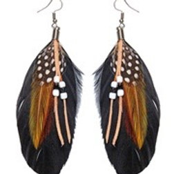 """Pair of """"BEADED FEATHER EARRINGS"""". 05933 W"""