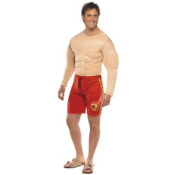 Baywatch Lifeguard Costume, Red, with Muscle Chest and Attached Shorts 36584 S