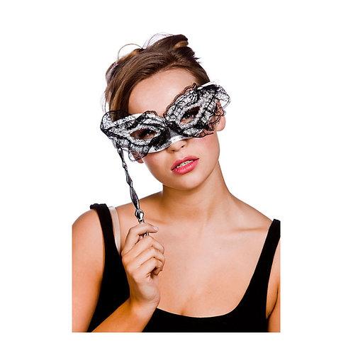 Lace Eyemask - Black & Silver w/Handle. MK-9803-S Wicked