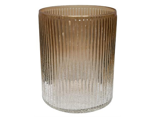 Lysglass krakkelert/gull stripet h:18cm Varenr: 109843