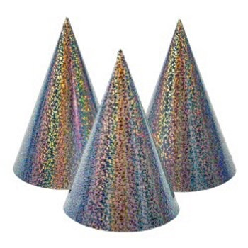 Party Hat Holographic Silver 6-pk. 78922 Joker