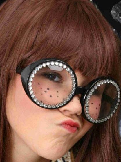 Svarte runde briller med bling