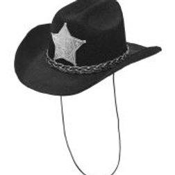 "Felt ""BLACK COWBOY MINI HAT WITH SHERIFF S... W 68570"