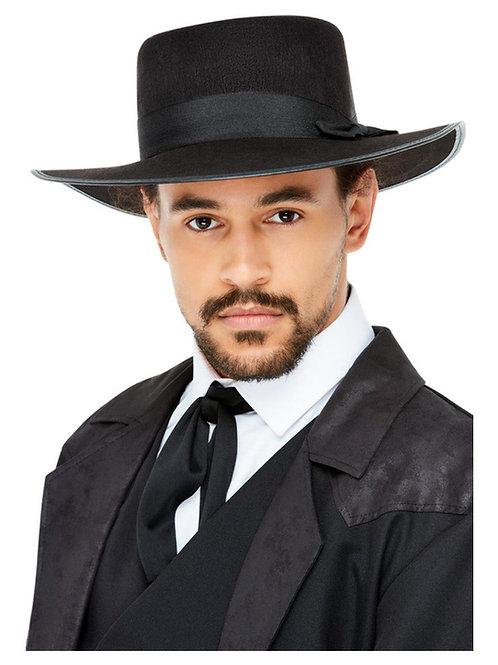 20s Wide Brim Fedora Hat, Black. 55031 Smiffys