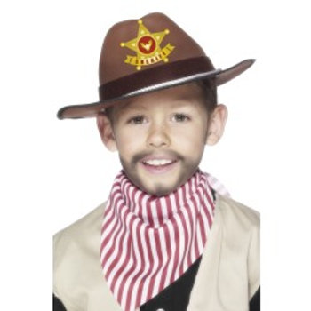 Cowboy Hat With Sheriff Badge, Brown 22535 S