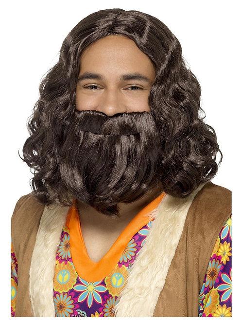 Hippie/Jesus Wig & Beard Set, Brown. 43069 S