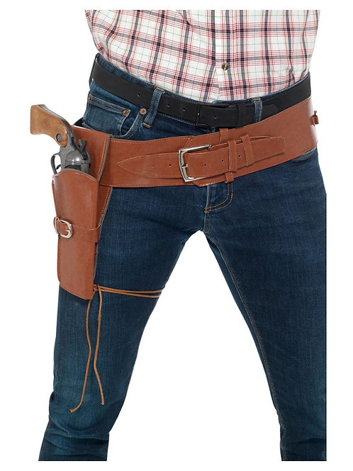 Adult Faux Leather Single Holster with Belt, Tan. 40305 S