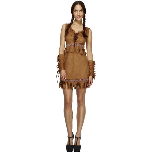 Fever Pocahontas Costume, Brown. 32042 Smiffys