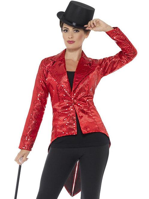Sequin Tailcoat Jacket, Ladies, Red. 46958 Smiffys