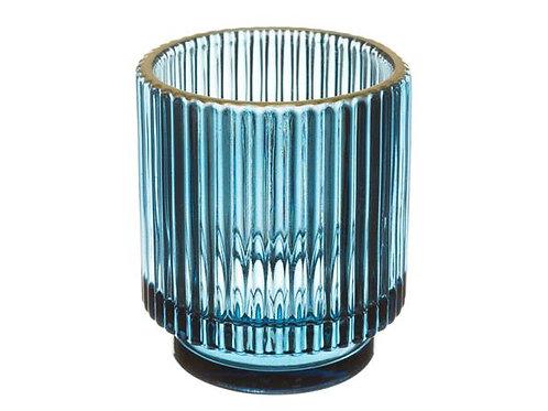 Telysglass rett blå m/gullkant h:8cm Varenr: 109818