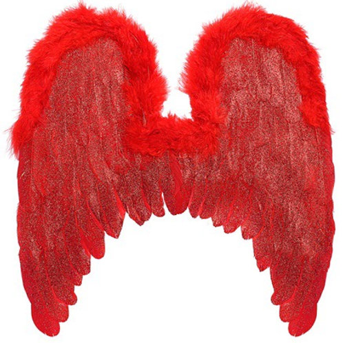 "RED FEATHERED WINGS WITH MARABOU TRIM & GLITTER"". 01199 Widmann"