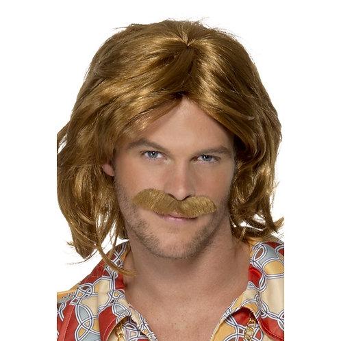 70'S Super Trouper Wig & Moustache,Brown