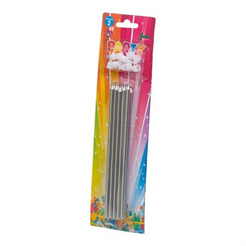 BIRTHDAY CANDLES LONG SILVER 10-PK. 79086 JOKER