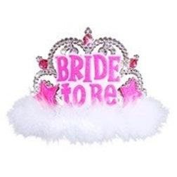 Bride To Be Tiara With Gems & Marabou. 8869B W