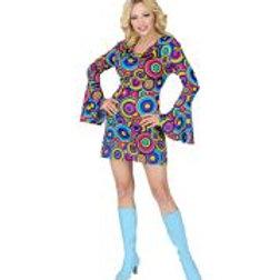 """70s LADY DRESS"" blue bubbles W 09291"