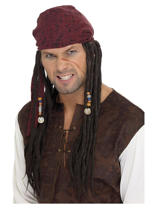 Pirate Wig & Scarf, Brown, with Plaits. 42078 S
