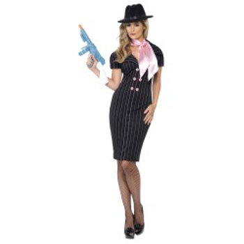 Gangster's Moll Costume, With Pinstripe Pencil Dress and Scarf 23697 S