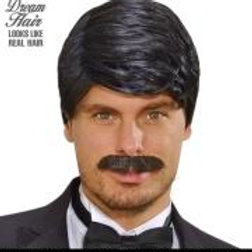 """BLACK PLAYBOY DREAM HAIR WIG & MOUSTACHE""... W L9194"