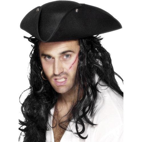 Pirate Tricorn Hat, Black SKU: 25110