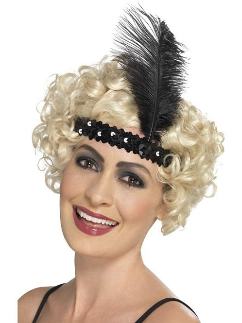 Flapper Headband, Black, with Feather SKU 44662